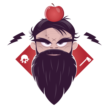 sullen: evil man with a long beard and an apple on his head