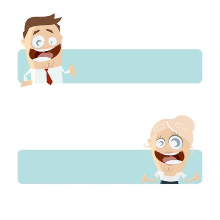 funny business people with blank banner Vector