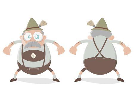funny bavarian cartoon man Illustration