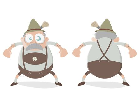funny bavarian cartoon man Illustration