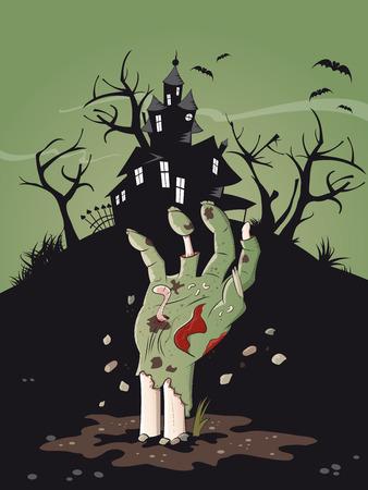 mano zombie halloween de fondo Ilustración de vector