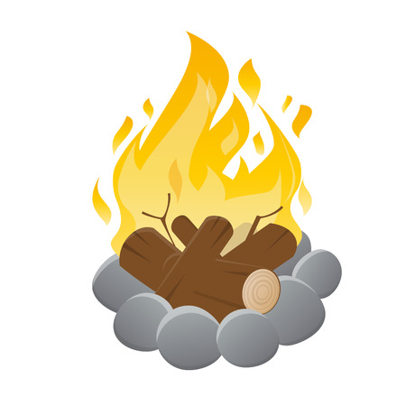 hot stones: vector illustration of an isolated campfire Illustration