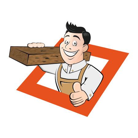 carpintero: carpintero de dibujos animados divertido Vectores