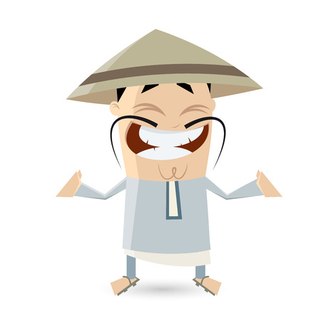 chinese hat: funny cartoon Chinese man