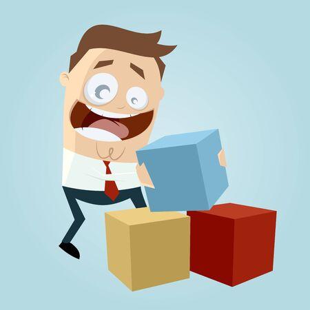 caricaturas de personas: divertido empresario jugando con cajas de colores