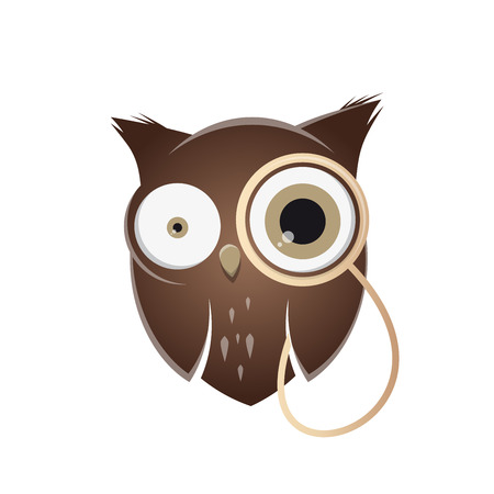 monocle: Funny cartoon owl with monocle Illustration