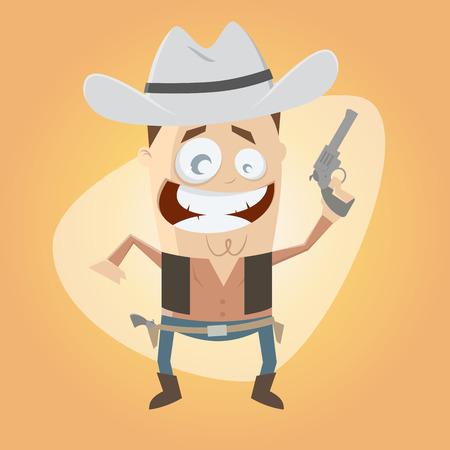 gunslinger: funny cartoon cowboy holding a gun