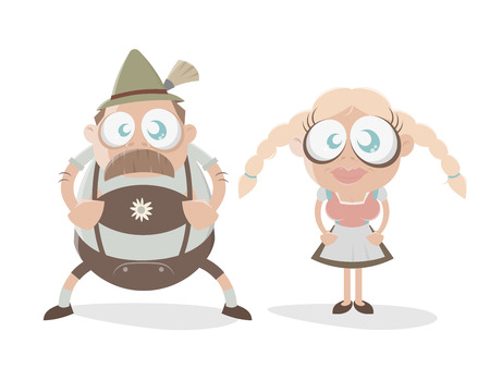 bavarian: funny bavarian cartoon couple Illustration