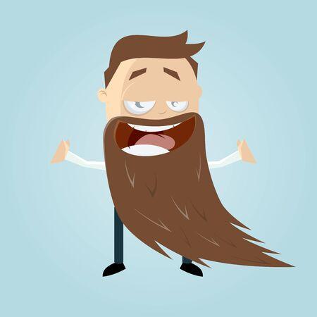 long beard: funny cartoon man with a long beard