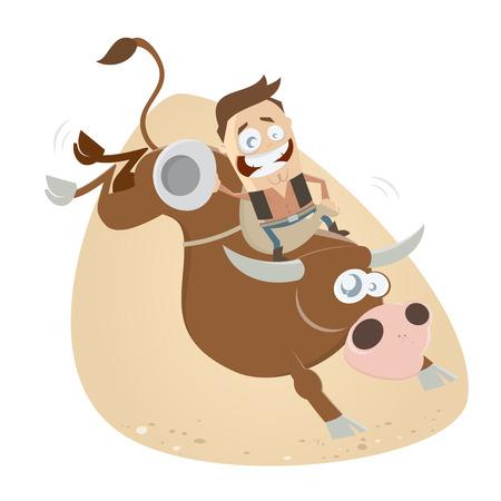 rodeo americano: rodeo divertido montar a caballo del vaquero Vectores