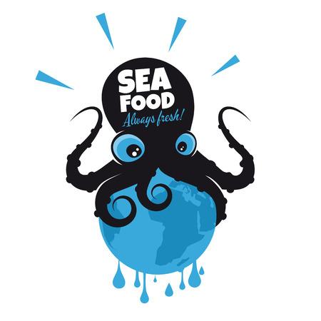 calamares: pulpos gigantes de dibujos animados que se sientan en la tierra Vectores