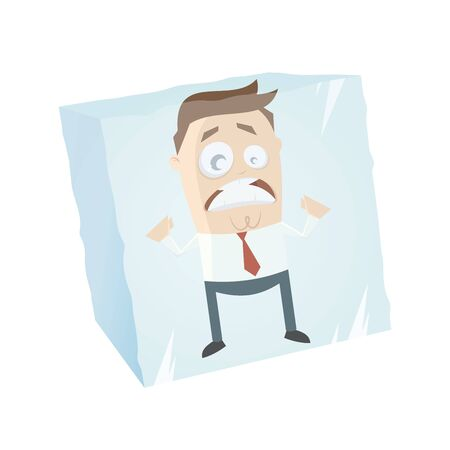 ice cubes: funny businessman is frozen in an ice cube Illustration
