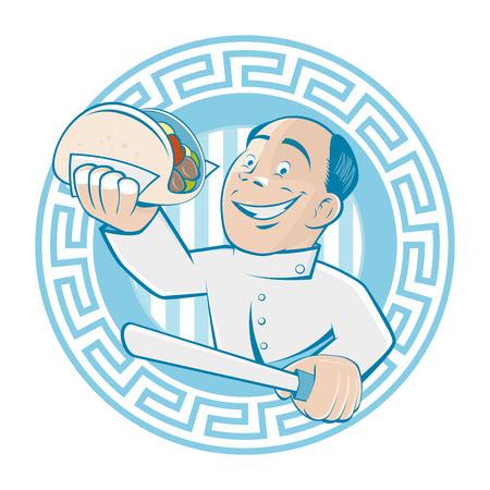 turkish dessert: greek man is serving gyros or doner Illustration