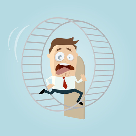 hamster: running businessman is running in hamster wheel