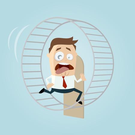 running businessman is running in hamster wheel