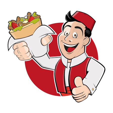 grappige cartoon man in een badge wordt serveren kebab doner