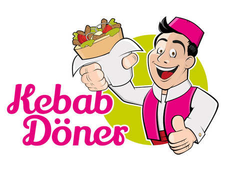 funny cartoon man with doner and german text that means kebab doner Illustration
