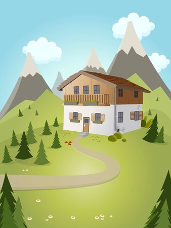 idyllic cartoon house with mountains in background Illustration