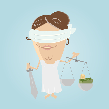 unjust: funny corrupted justitia illustration Illustration