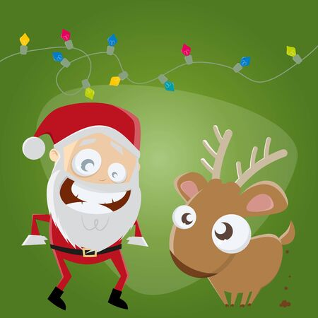 funny santa claus and reindeer Vector