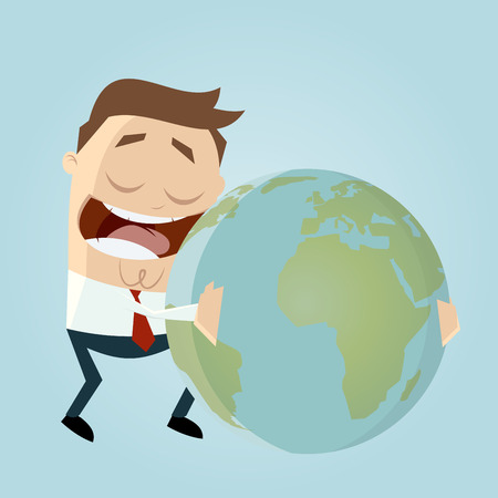 businessman is hugging the earth Vector