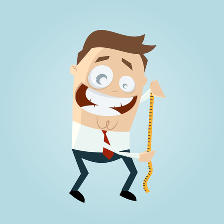 precisely: funny businessman with measuring tape