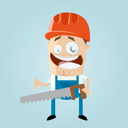 funny cartoon construction worker