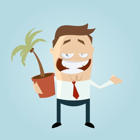 salesperson: funny cartoon man with houseplant Illustration