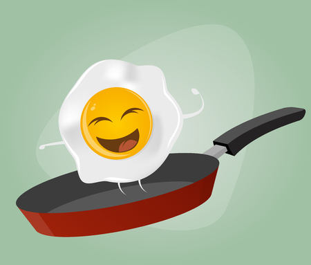 fried egg is dancing in a pan Vector