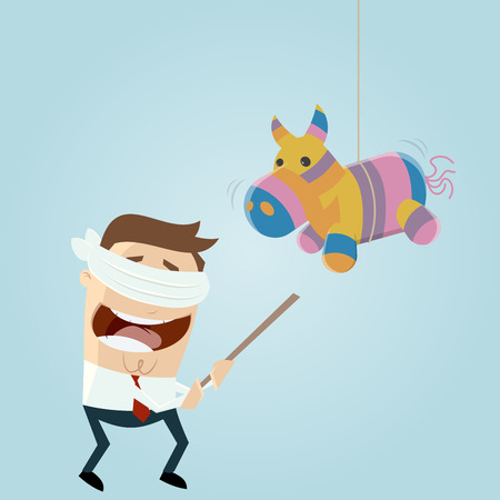 pinata: funny cartoon man and pinata horse