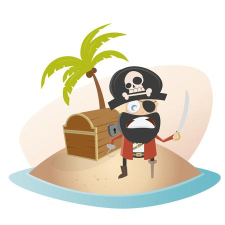 isla del tesoro: pirata divertido de la historieta en la isla del tesoro Vectores