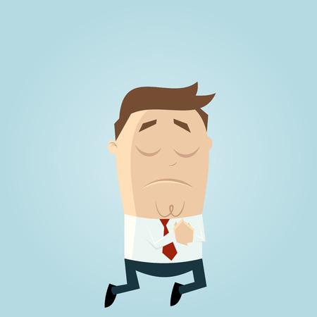 grappige zakenman bidt Stock Illustratie