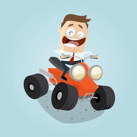 quad: funny businessman is riding a quad bike Illustration