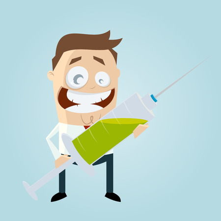 syringe inoculation: funny cartoon man with big syringe