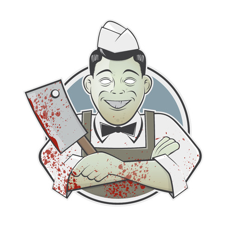 cartoon butcher with bloody cleaver in a badge