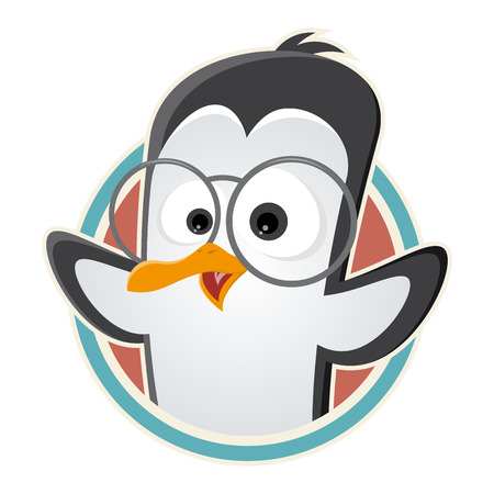 funny cartoon: funny cartoon penguin with glasses in a badge