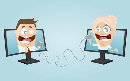 calling art: funny business people communication Illustration