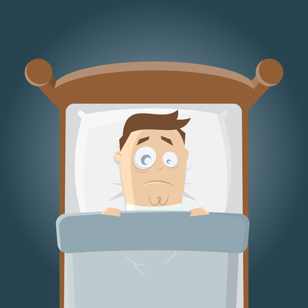 schlaflose Cartoon Mann im Bett