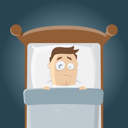 sleepless cartoon man in bed