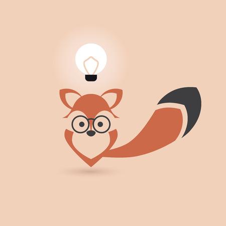 black fox: funny stylized vector fox has an idea