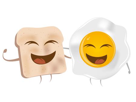 toasted: cartoon toast and fried egg Illustration