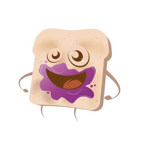gluttonous: funny cartoon toast with blueberry marmalade in it\