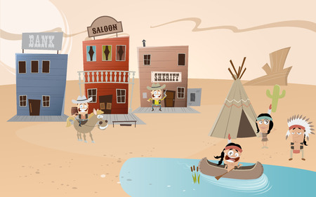west: cartoon western town and indian settlement