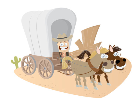 horse and carriage: funny cartoon cowboy and carriage