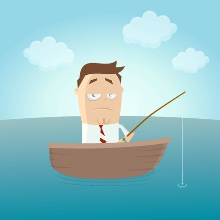 funny businessman on boat with fishing waiting for a catch 矢量图像