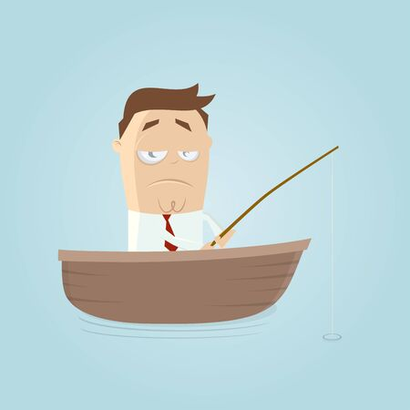 unlucky: funny businessman on a boat with fishing rod is waiting for a catch