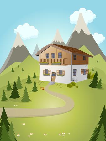 alpine: idyllic cartoon house with mountains in background Illustration