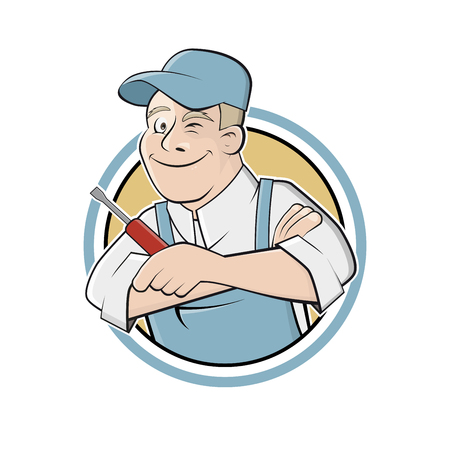 holding sign: funny cartoon worker in a badge