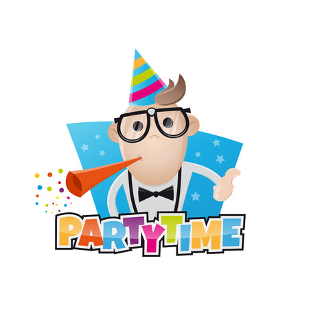 illustration people: funny party man