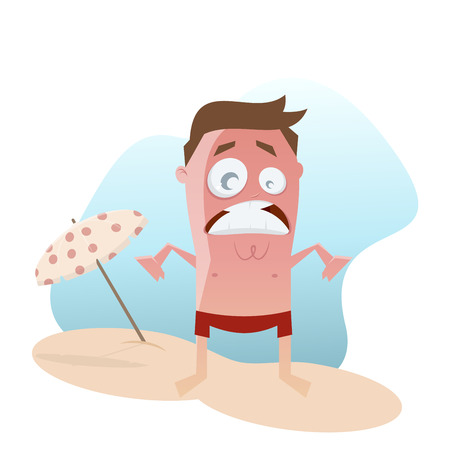 funny cartoon man with sunburn